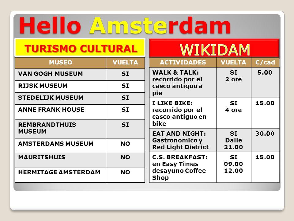 Hello Amsterdam MUSEOVUELTA VAN GOGH MUSEUMSI RIJSK MUSEUMSI STEDELIJK MUSEUMSI ANNE FRANK HOUSESI REMBRANDTHUIS MUSEUM SI AMSTERDAMS MUSEUMNO MAURITSHUISNO HERMITAGE AMSTERDAMNO ACTIVIDADESVUELTA€/cad WALK & TALK: recorrido por el casco antiguo a pie SI 2 ore 5.00 I LIKE BIKE: recorrido por el casco antiguo en bike SI 4 ore 15.00 EAT AND NIGHT: Gastronomico y Red Light District SI Dalle 21.00 30.00 C.S.