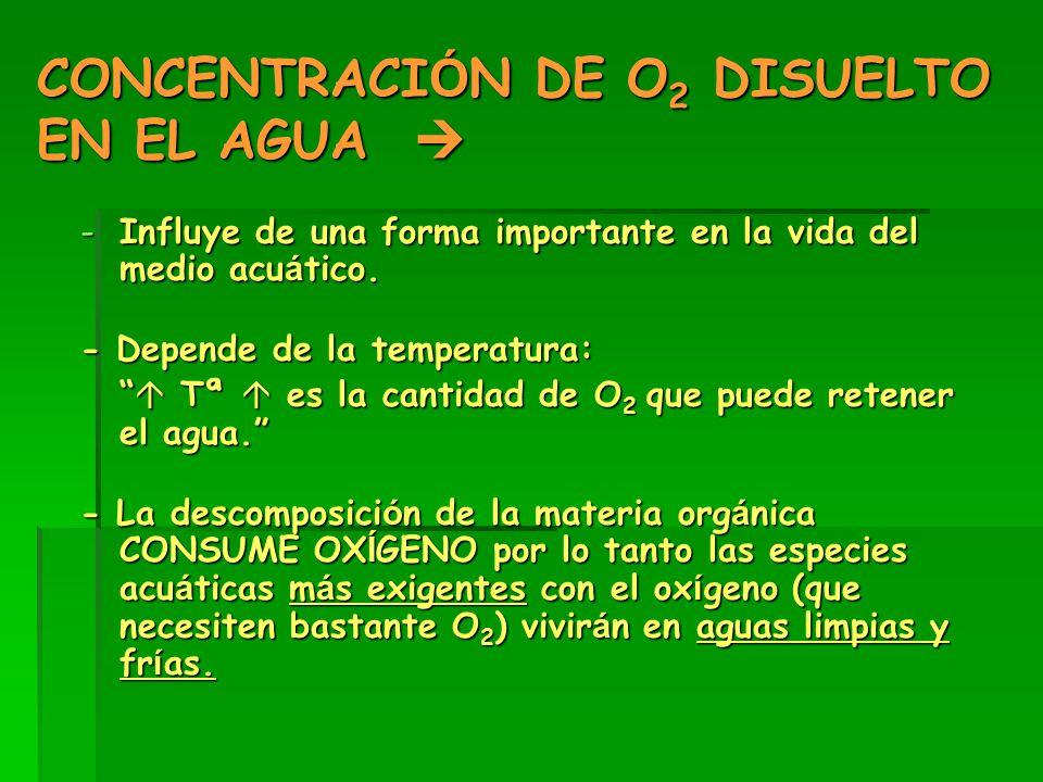 CONCENTRACI Ó N DE O 2 DISUELTO EN EL AGUA  -Influye de una forma importante en la vida del medio acu á tico.