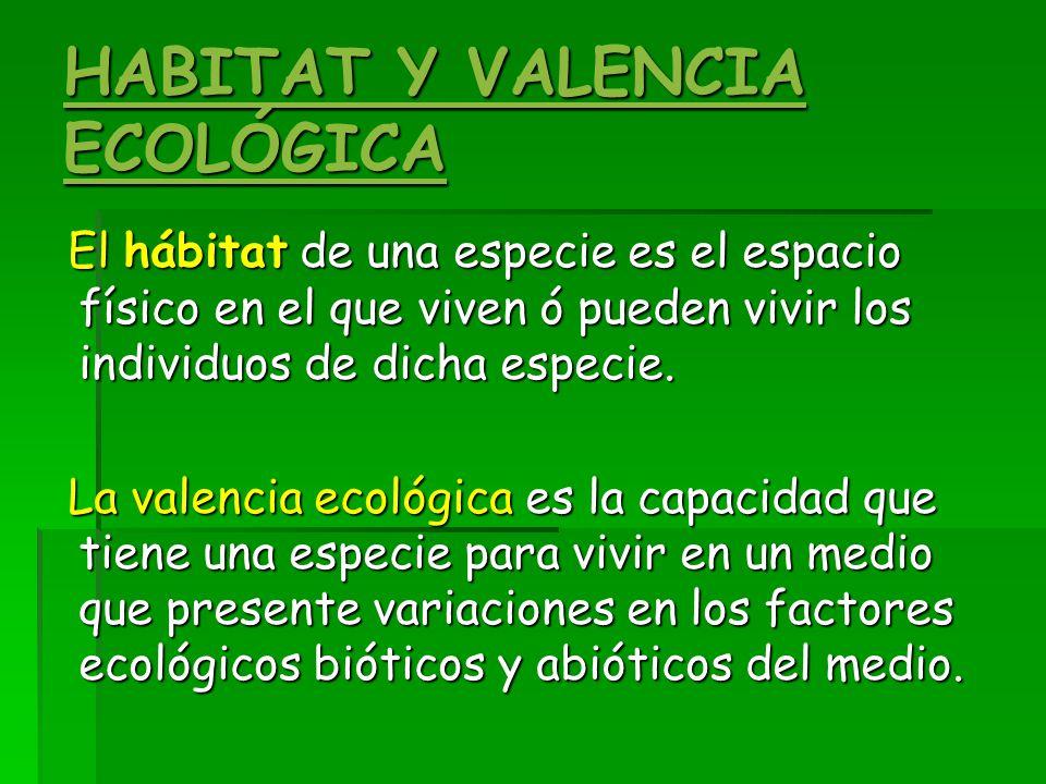 HABITAT Y VALENCIA ECOLÓGICA El hábitat de una especie es el espacio físico en el que viven ó pueden vivir los individuos de dicha especie.