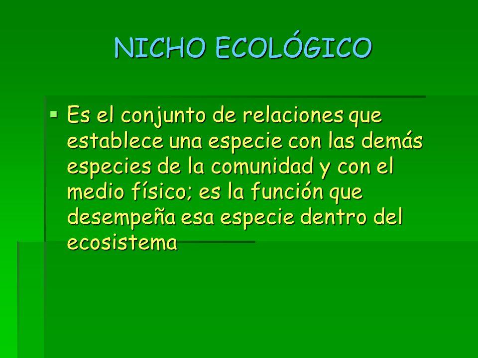 NICHO ECOLÓGICO  Es el conjunto de relaciones que establece una especie con las demás especies de la comunidad y con el medio físico; es la función que desempeña esa especie dentro del ecosistema