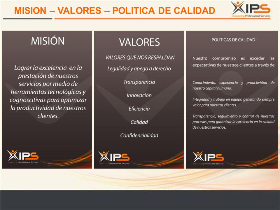 MISION – VALORES – POLITICA DE CALIDAD