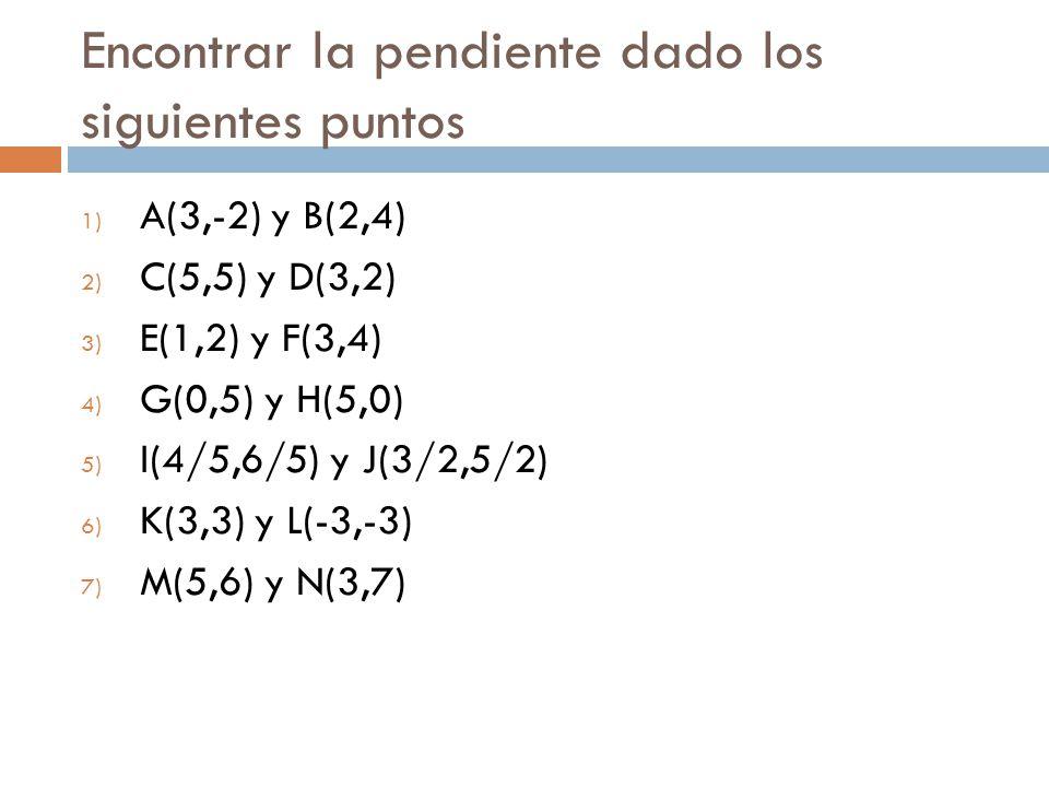 Encontrar la pendiente dado los siguientes puntos 1) A(3,-2) y B(2,4) 2) C(5,5) y D(3,2) 3) E(1,2) y F(3,4) 4) G(0,5) y H(5,0) 5) I(4/5,6/5) y J(3/2,5/2) 6) K(3,3) y L(-3,-3) 7) M(5,6) y N(3,7)