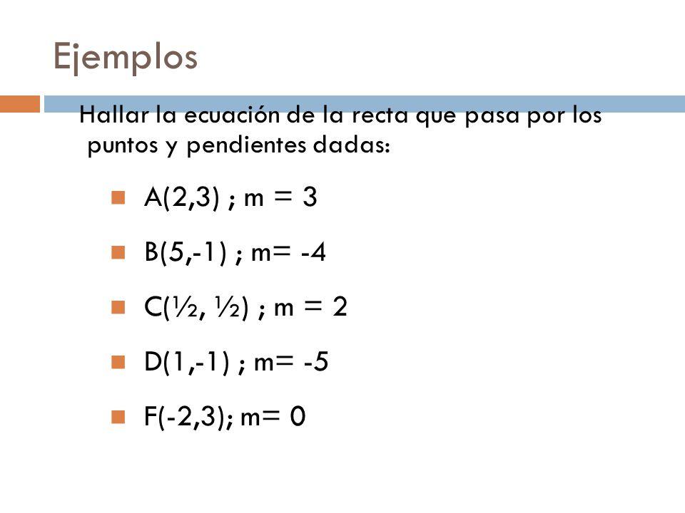 Ejemplos Hallar la ecuación de la recta que pasa por los puntos y pendientes dadas: A(2,3) ; m = 3 B(5,-1) ; m= -4 C(½, ½) ; m = 2 D(1,-1) ; m= -5 F(-2,3); m= 0