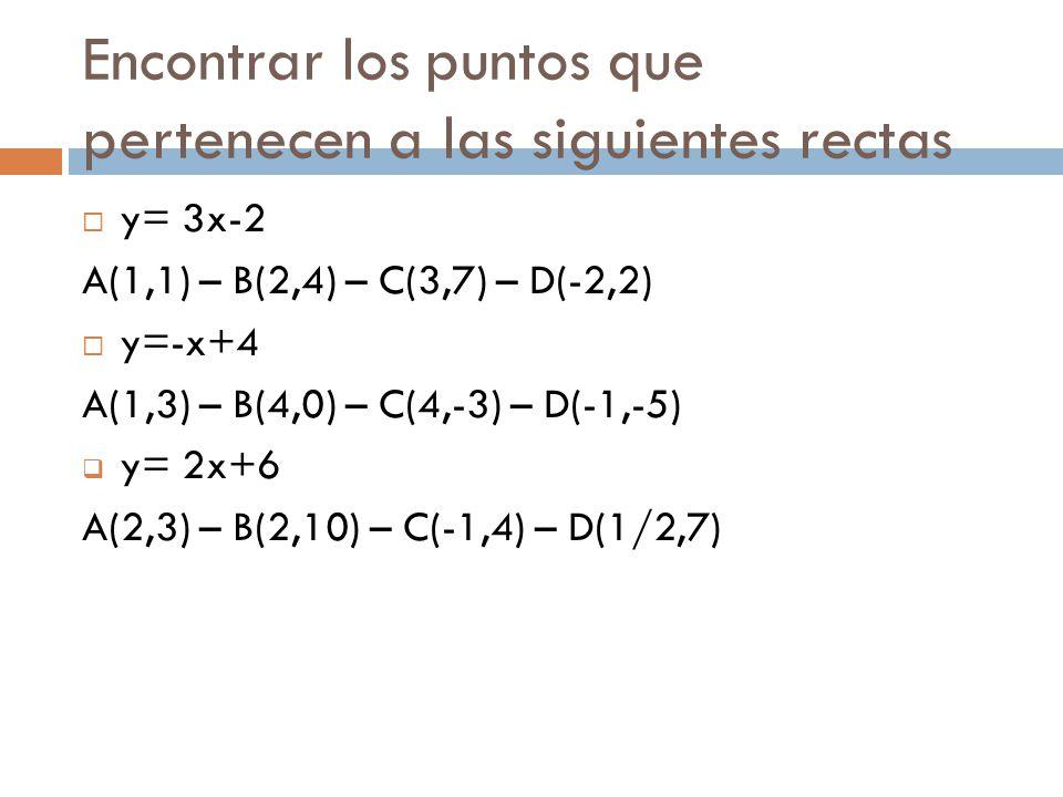Encontrar los puntos que pertenecen a las siguientes rectas  y= 3x-2 A(1,1) – B(2,4) – C(3,7) – D(-2,2)  y=-x+4 A(1,3) – B(4,0) – C(4,-3) – D(-1,-5)  y= 2x+6 A(2,3) – B(2,10) – C(-1,4) – D(1/2,7)