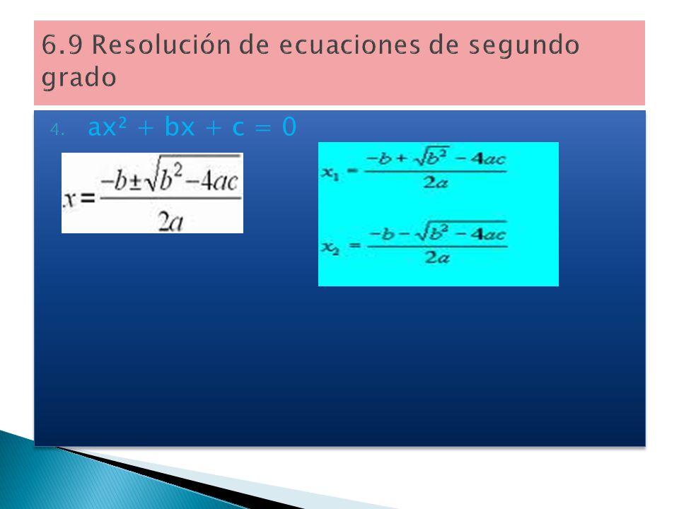 Consideramos la resolución de 4 tipos de ecuaciones. (Las soluciones también se llaman raices). 1.x² = c 2. ax² + c = 0 3. ax² + bx = 0 Consideramos l