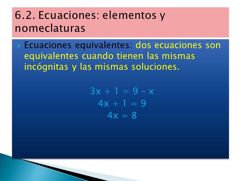  Incógnitas: son las letras que aparecen en la ecuación.  Soluciones: son los valores que deben tomar las letras para que la igualdad sea cierta. 