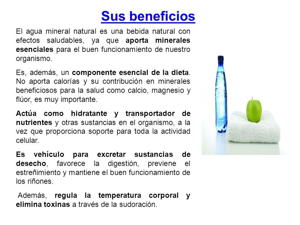 Sus beneficios El agua mineral natural es una bebida natural con efectos saludables, ya que aporta minerales esenciales para el buen funcionamiento de nuestro organismo.