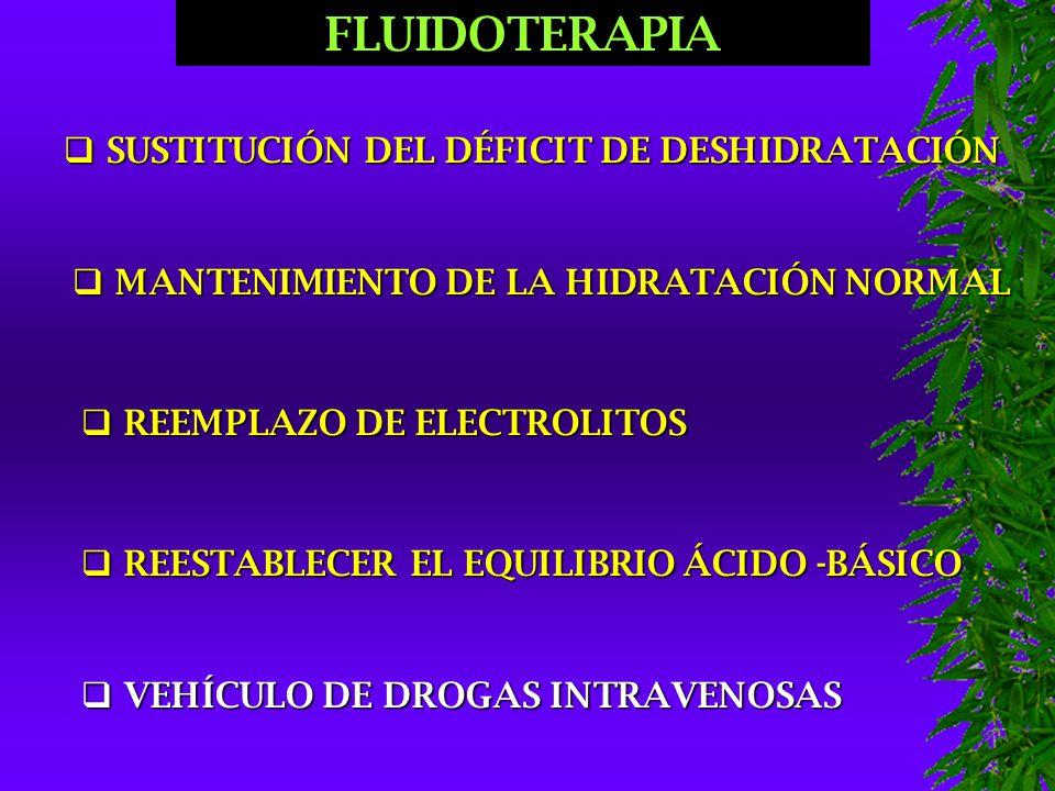 FLUIDOTERAPIA  SUSTITUCIÓN DEL DÉFICIT DE DESHIDRATACIÓN  MANTENIMIENTO DE LA HIDRATACIÓN NORMAL  REEMPLAZO DE ELECTROLITOS  REESTABLECER EL EQUILIBRIO ÁCIDO -BÁSICO  VEHÍCULO DE DROGAS INTRAVENOSAS