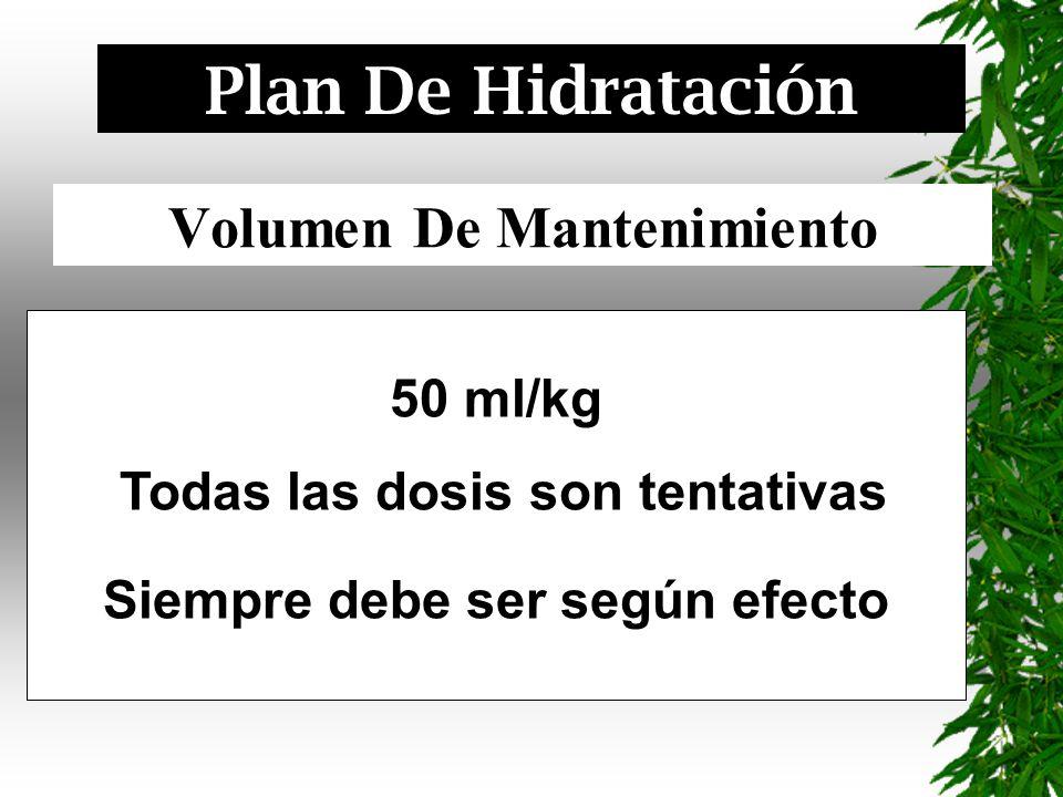 Volumen De Mantenimiento 50 ml/kg Todas las dosis son tentativas Siempre debe ser según efecto Plan De Hidratación
