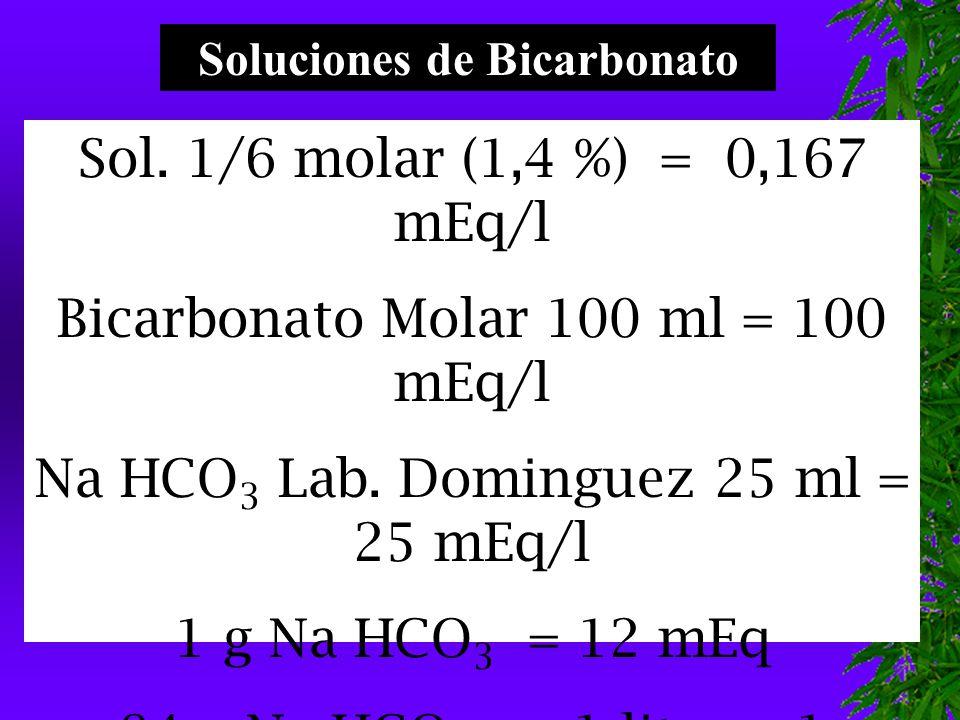 Sol.1/6 molar (1,4 %) = 0,167 mEq/l Bicarbonato Molar 100 ml = 100 mEq/l Na HCO 3 Lab.