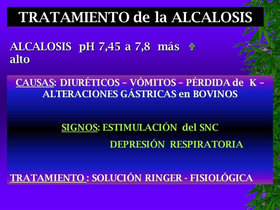 TRATAMIENTO de la ALCALOSIS ALCALOSIS pH 7,45 a 7,8 más alto  CAUSAS: DIURÉTICOS – VÓMITOS – PÉRDIDA de K – ALTERACIONES GÁSTRICAS en BOVINOS SIGNOS: ESTIMULACIÓN del SNC DEPRESIÓN RESPIRATORIA TRATAMIENTO : SOLUCIÓN RINGER - FISIOLÓGICA