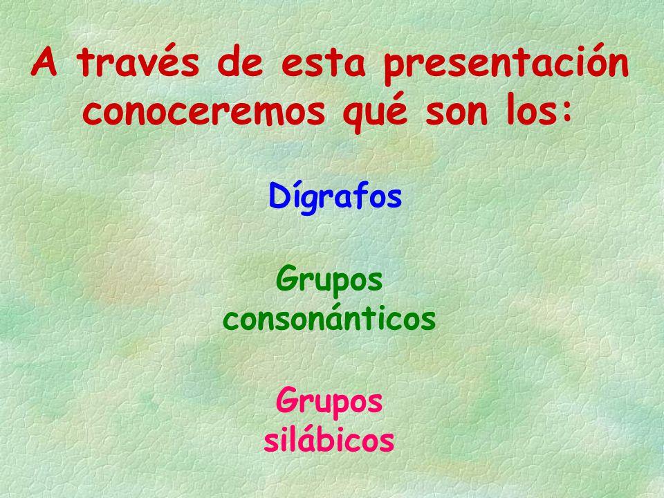 A través de esta presentación conoceremos qué son los: Dígrafos Grupos consonánticos Grupos silábicos