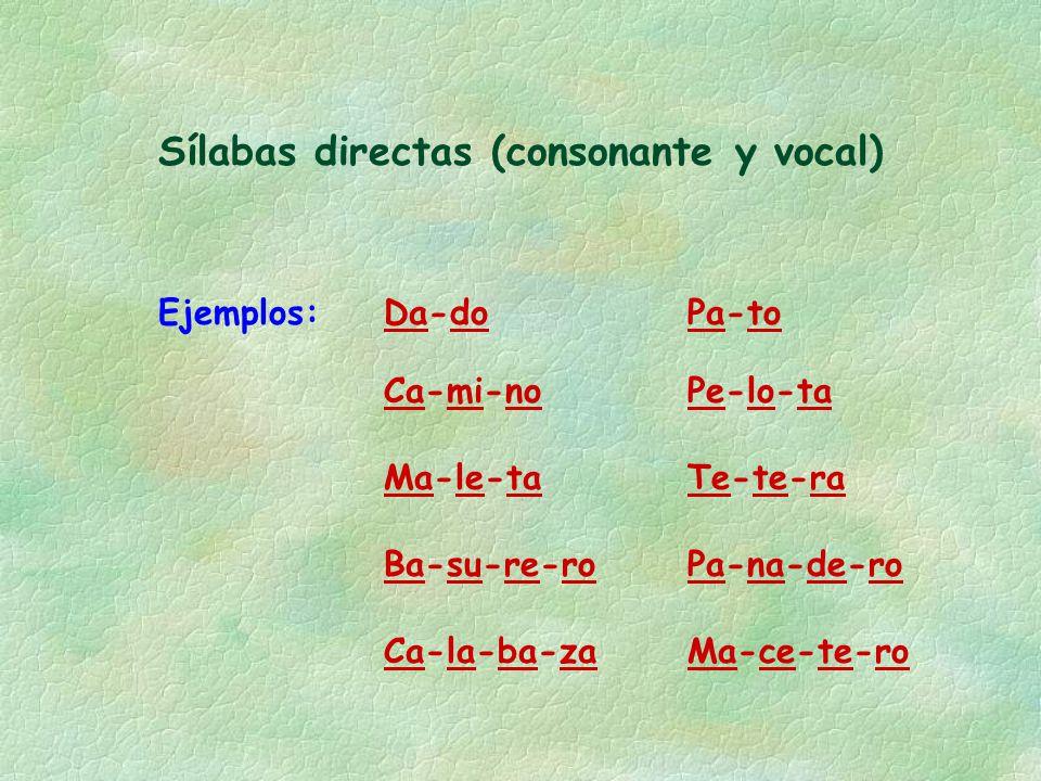 Sílabas directas (consonante y vocal) Ejemplos: Ca-la-ba-za Ca-mi-no Ba-su-re-ro Ma-le-ta Ma-ce-te-ro Pa-na-de-ro Te-te-ra Pe-lo-ta Da-doPa-to