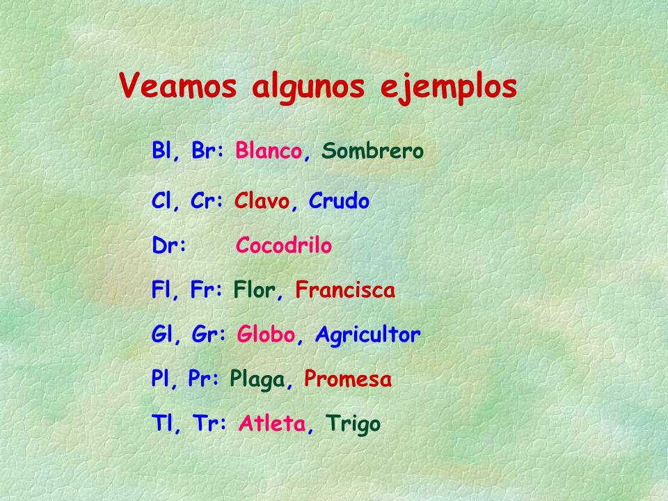 Bl, Br: Blanco, Sombrero Veamos algunos ejemplos Cl, Cr: Clavo, Crudo Dr: Cocodrilo Fl, Fr: Flor, Francisca Gl, Gr: Globo, Agricultor Pl, Pr: Plaga, P