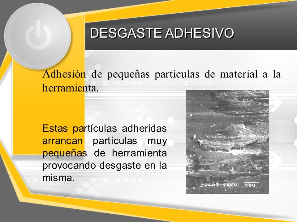 DESGASTE ADHESIVO Adhesión de pequeñas partículas de material a la herramienta.