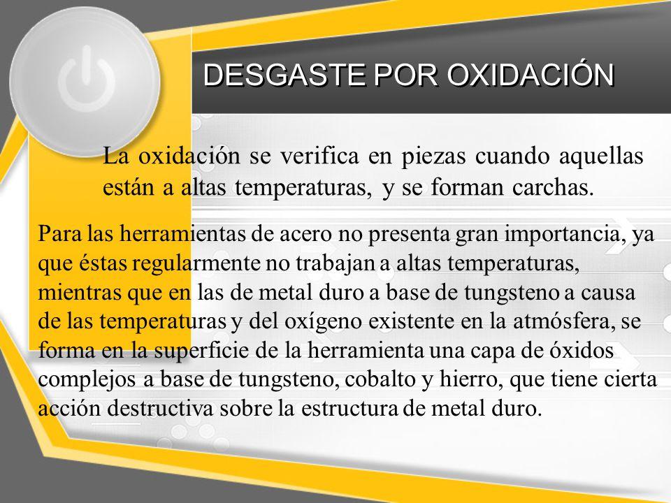 DESGASTE POR OXIDACIÓN Difusión de hierro en la fase de cobalto, formando una mezcla de bajo punto de fusión y fácil desgaste.