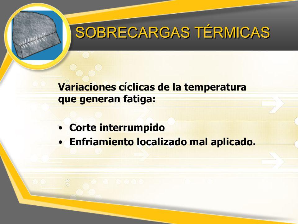 SOBRECARGAS TÉRMICAS Variaciones cíclicas de la temperatura que generan fatiga: Corte interrumpido Enfriamiento localizado mal aplicado.