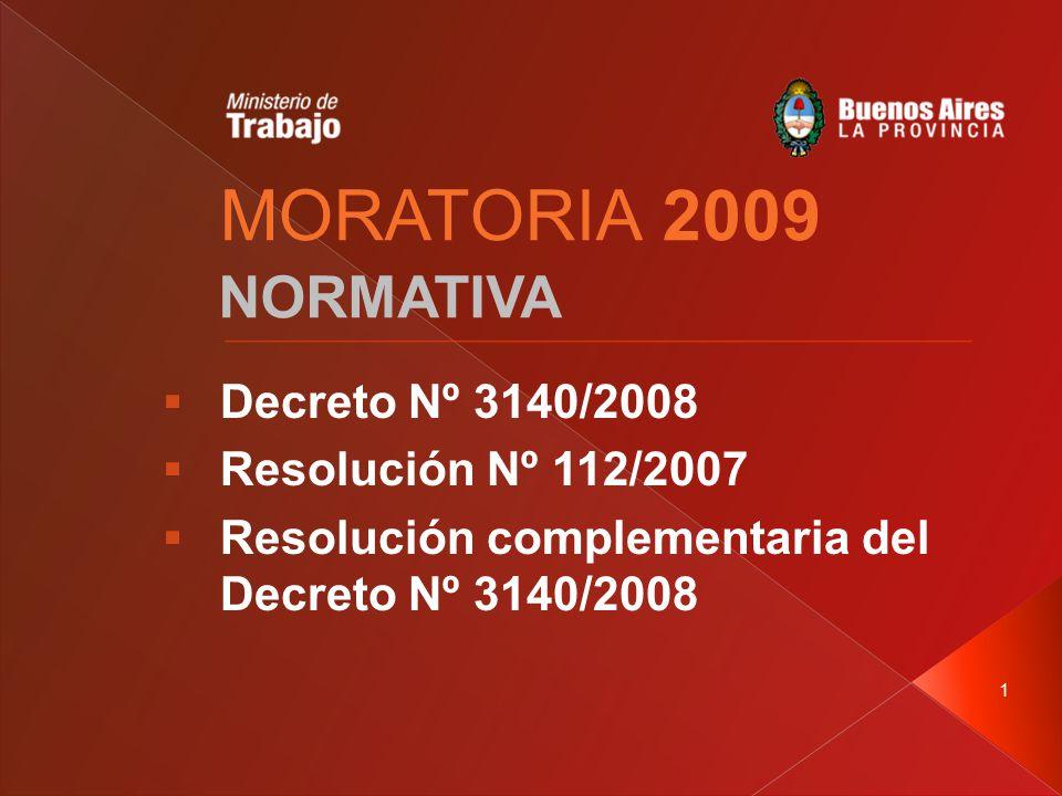 1 MORATORIA 2009 NORMATIVA  Decreto Nº 3140/2008  Resolución Nº 112/2007  Resolución complementaria del Decreto Nº 3140/2008
