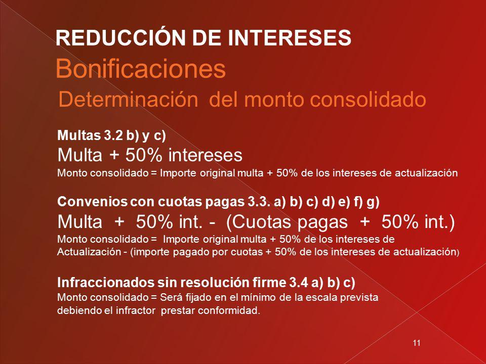 11 Multas 3.2 b) y c) Multa + 50% intereses Monto consolidado = Importe original multa + 50% de los intereses de actualización Convenios con cuotas pagas 3.3.