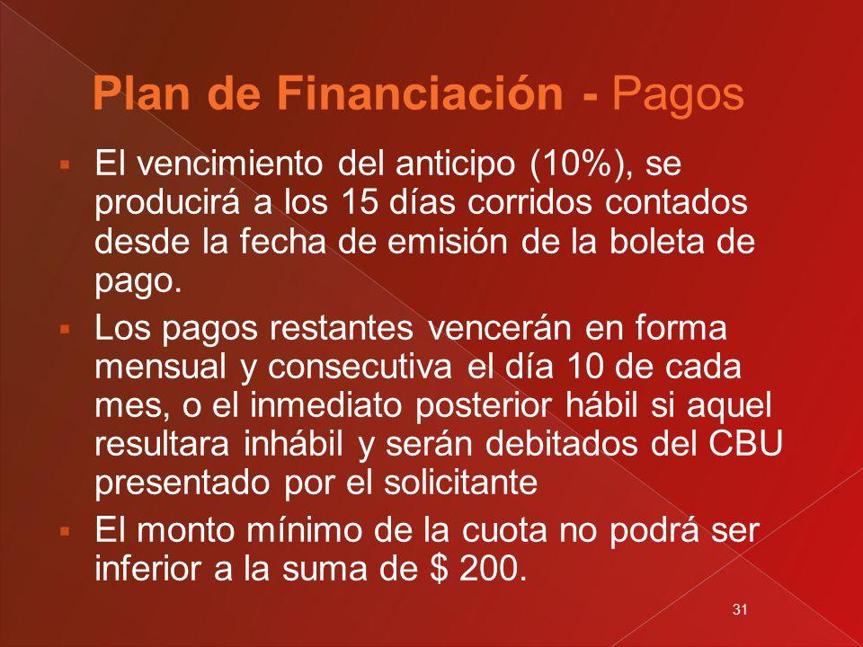 31  El vencimiento del anticipo (10%), se producirá a los 15 días corridos contados desde la fecha de emisión de la boleta de pago.