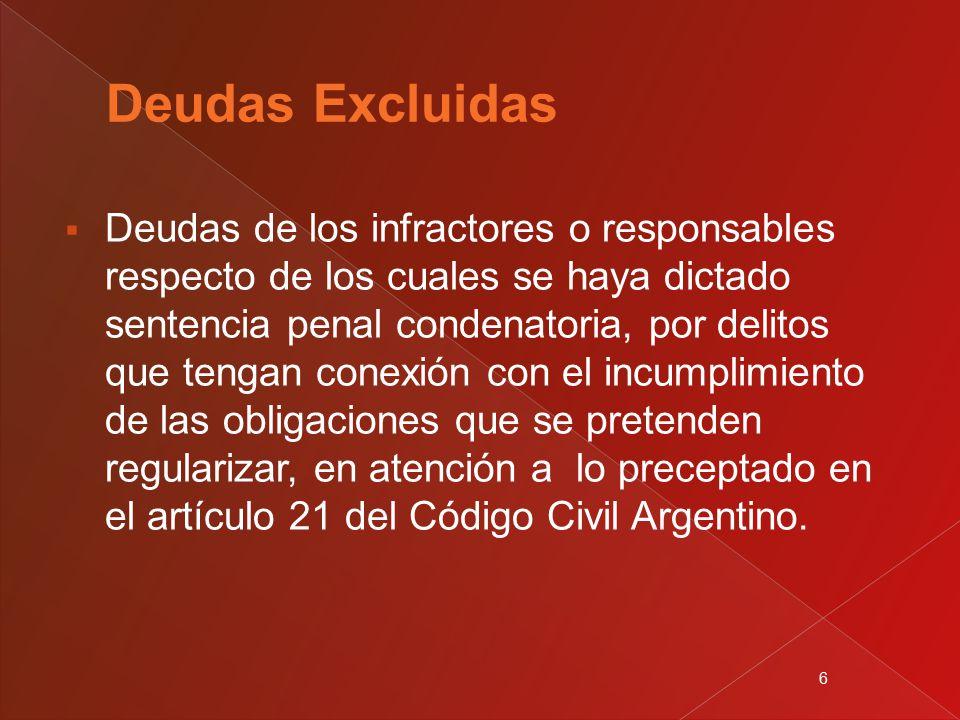 6  Deudas de los infractores o responsables respecto de los cuales se haya dictado sentencia penal condenatoria, por delitos que tengan conexión con el incumplimiento de las obligaciones que se pretenden regularizar, en atención a lo preceptado en el artículo 21 del Código Civil Argentino.