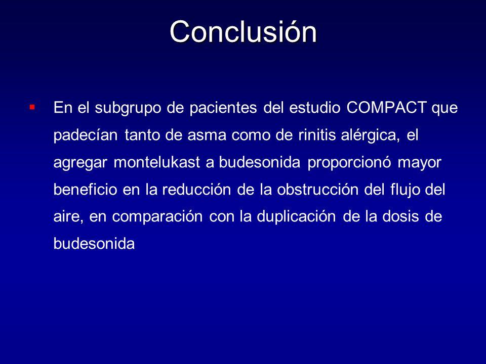 Conclusión   En el subgrupo de pacientes del estudio COMPACT que padecían tanto de asma como de rinitis alérgica, el agregar montelukast a budesonid