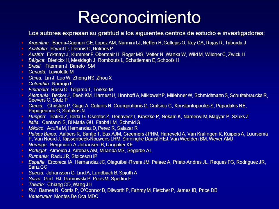 Reconocimiento Los autores expresan su gratitud a los siguientes centros de estudio e investigadores:  Argentina: Baena-Cagnani CE, Lopez AM, Nannini