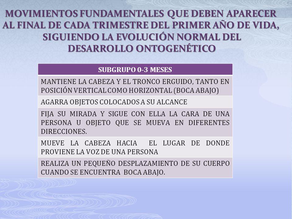 SUBGRUPO 0-3 MESES MANTIENE LA CABEZA Y EL TRONCO ERGUIDO, TANTO EN POSICIÓN VERTICAL COMO HORIZONTAL (BOCA ABAJO) AGARRA OBJETOS COLOCADOS A SU ALCAN