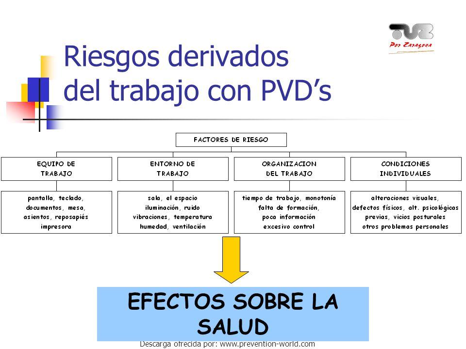 Autor: Miguel Ángel Daniel Descarga ofrecida por: www.prevention-world.com Riesgos derivados del trabajo con PVD's EFECTOS SOBRE LA SALUD