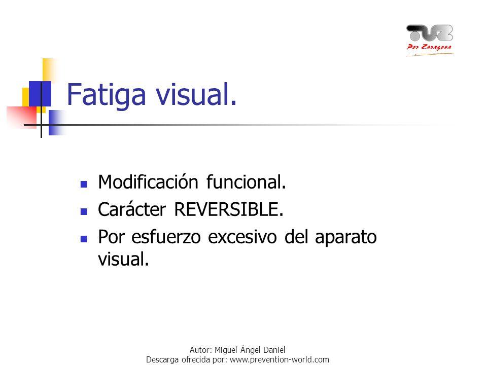 Autor: Miguel Ángel Daniel Descarga ofrecida por: www.prevention-world.com Fatiga visual. Modificación funcional. Carácter REVERSIBLE. Por esfuerzo ex