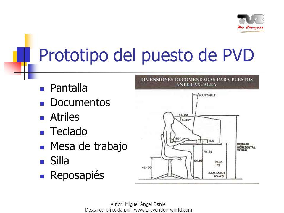 Autor: Miguel Ángel Daniel Descarga ofrecida por: www.prevention-world.com Prototipo del puesto de PVD Pantalla Documentos Atriles Teclado Mesa de tra