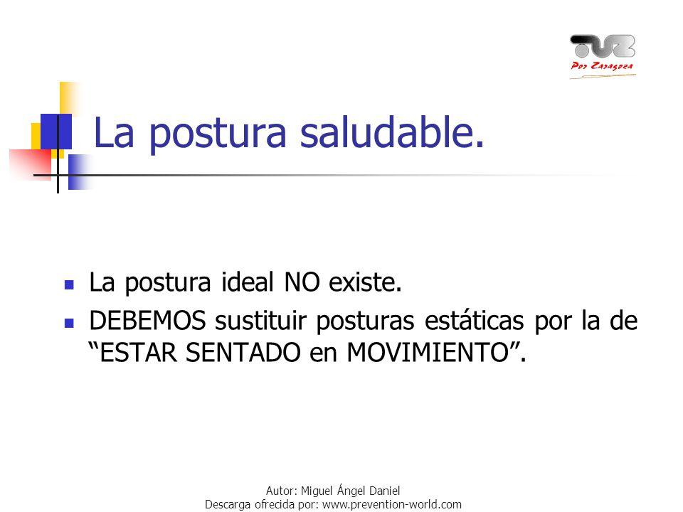 Autor: Miguel Ángel Daniel Descarga ofrecida por: www.prevention-world.com La postura saludable. La postura ideal NO existe. DEBEMOS sustituir postura