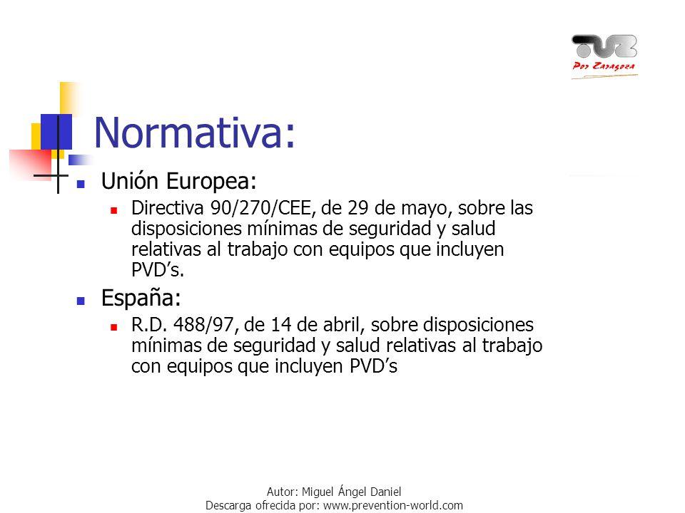 Autor: Miguel Ángel Daniel Descarga ofrecida por: www.prevention-world.com Normativa: Unión Europea: Directiva 90/270/CEE, de 29 de mayo, sobre las di