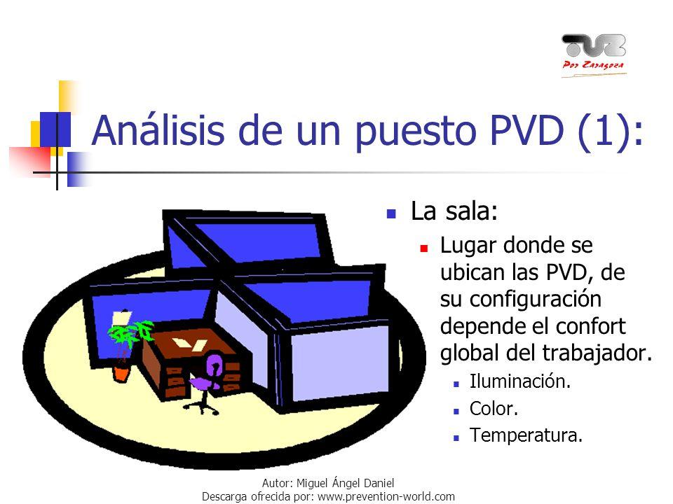 Autor: Miguel Ángel Daniel Descarga ofrecida por: www.prevention-world.com Análisis de un puesto PVD (1): La sala: Lugar donde se ubican las PVD, de s