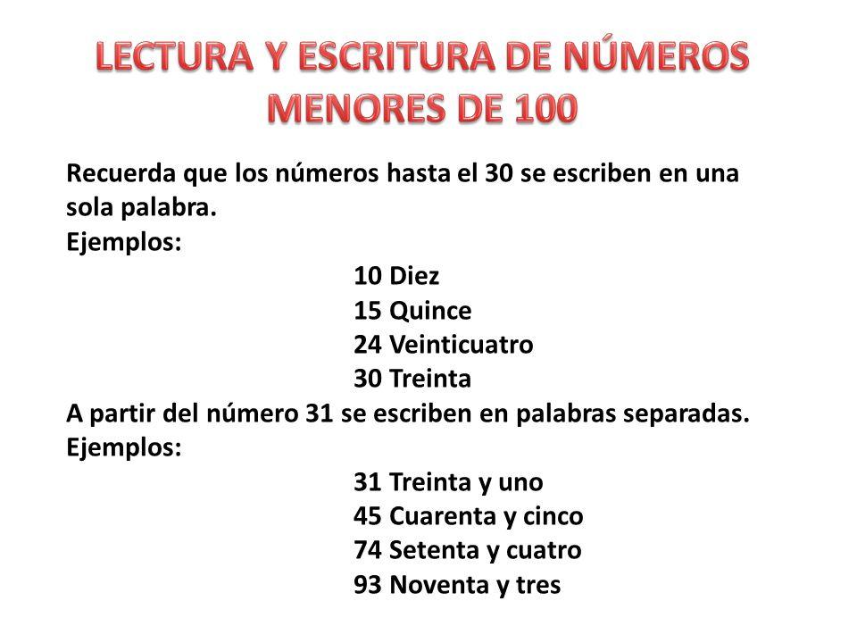Recuerda que los números hasta el 30 se escriben en una sola palabra.