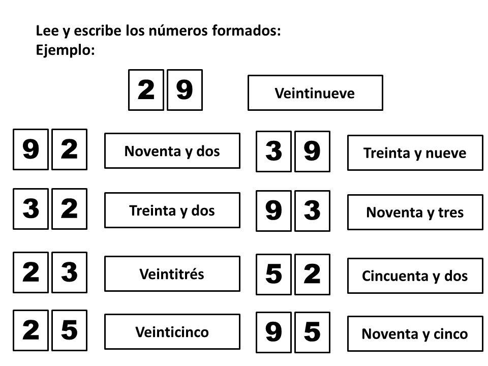 Lee y escribe los números formados: Ejemplo: 29 Veintinueve 92 Noventa y dos 32 Treinta y dos 23 Veintitrés 39 Treinta y nueve 93 Noventa y tres 52 Cincuenta y dos 25 Veinticinco 95 Noventa y cinco