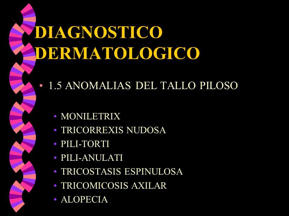 DIAGNOSTICO DERMATOLOGICO 1.5 ANOMALIAS DEL TALLO PILOSO MONILETRIX TRICORREXIS NUDOSA PILI-TORTI PILI-ANULATI TRICOSTASIS ESPINULOSA TRICOMICOSIS AXI