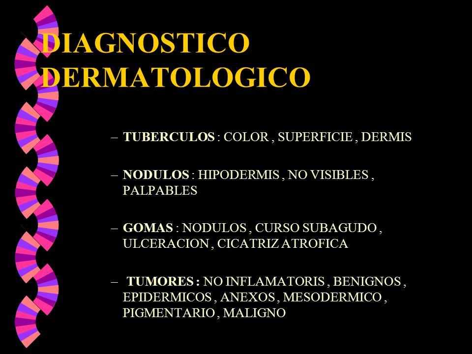 DIAGNOSTICO DERMATOLOGICO –TUBERCULOS : COLOR, SUPERFICIE, DERMIS –NODULOS : HIPODERMIS, NO VISIBLES, PALPABLES –GOMAS : NODULOS, CURSO SUBAGUDO, ULCE