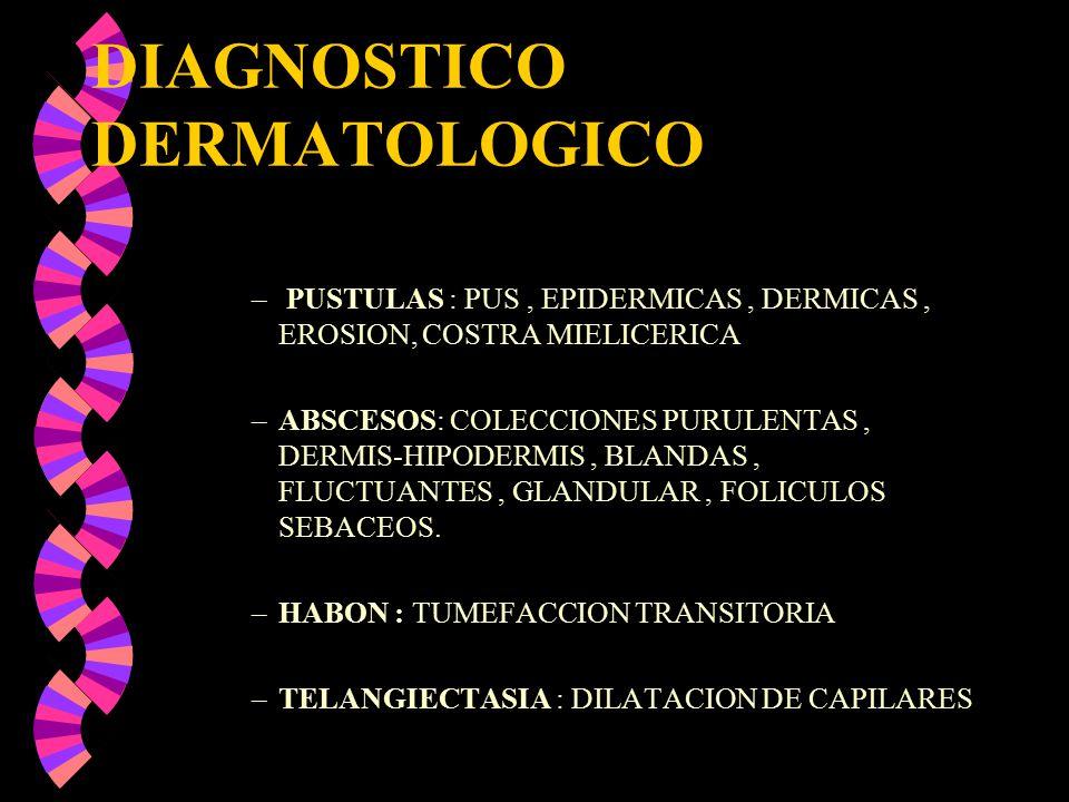 DIAGNOSTICO DERMATOLOGICO – PUSTULAS : PUS, EPIDERMICAS, DERMICAS, EROSION, COSTRA MIELICERICA –ABSCESOS: COLECCIONES PURULENTAS, DERMIS-HIPODERMIS, B