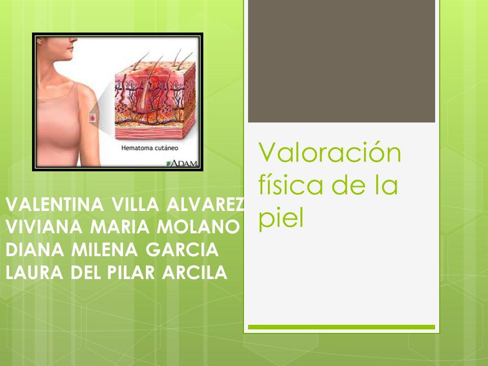 Valoración física de la piel VALENTINA VILLA ALVAREZ VIVIANA MARIA MOLANO DIANA MILENA GARCIA LAURA DEL PILAR ARCILA