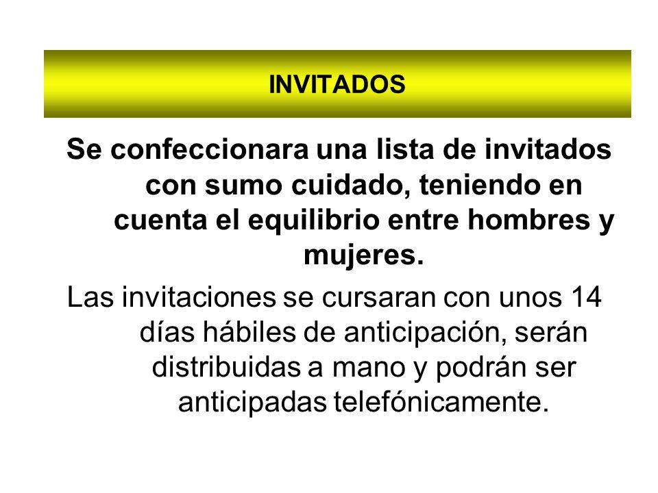 INVITADOS Se confeccionara una lista de invitados con sumo cuidado, teniendo en cuenta el equilibrio entre hombres y mujeres.