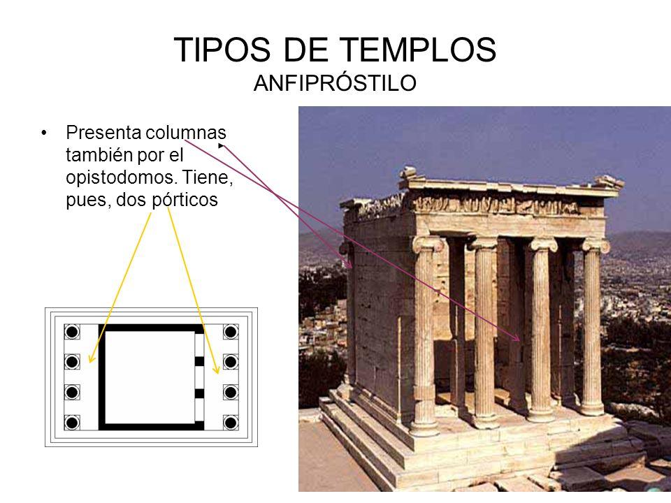 TIPOS DE TEMPLOS ANFIPRÓSTILO Presenta columnas también por el opistodomos.