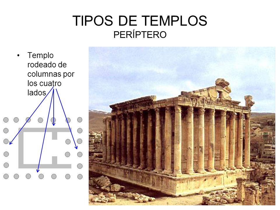 TIPOS DE TEMPLOS PERÍPTERO Templo rodeado de columnas por los cuatro lados