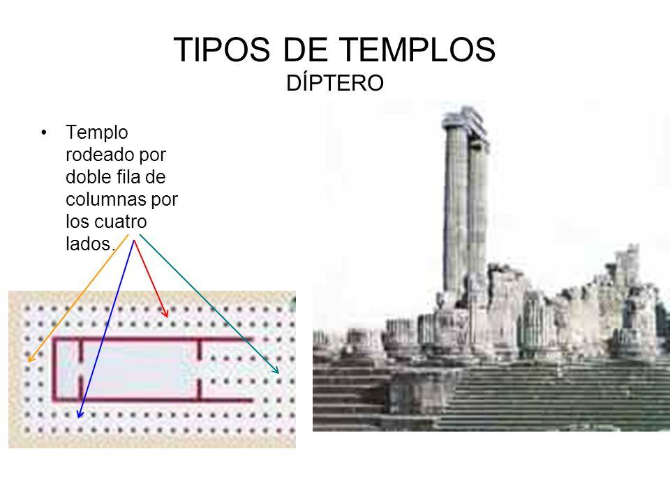 TIPOS DE TEMPLOS DÍPTERO Templo rodeado por doble fila de columnas por los cuatro lados.