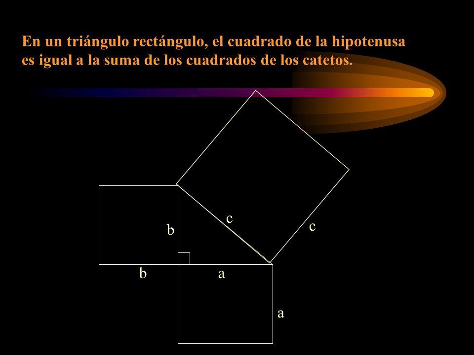 c a a b b c En un triángulo rectángulo, el cuadrado de la hipotenusa es igual a la suma de los cuadrados de los catetos.