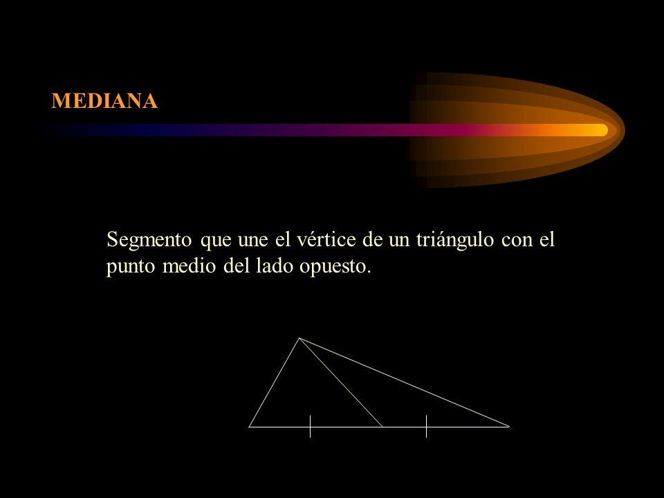 MEDIANA Segmento que une el vértice de un triángulo con el punto medio del lado opuesto.