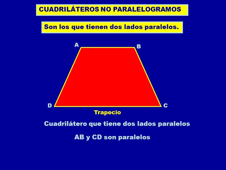 Trapecio isósceles Trapecio rectángulo CUADRILÁTEROS NO PARALELOGRAMOS AB C D Trapecio isósceles es el que tiene dos lados iguales.