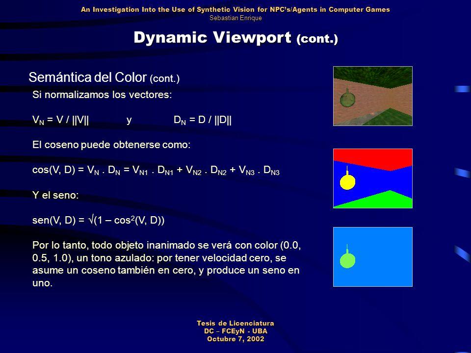 Dynamic Viewport (cont.) Semántica del Color (cont.) Si normalizamos los vectores: V N = V / ||V||yD N = D / ||D|| El coseno puede obtenerse como: cos(V, D) = V N.