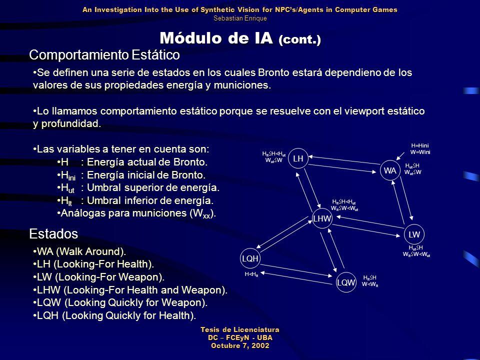 Módulo de IA (cont.) LW LH WA LHW LQW LQHLQH H=Hini W=Wini H lt  H<H ut W ut  W H ut  H W ut  W H ut  H W lt  W<W ut H lt  H<H ut W lt  W<W ut H<H lt H lt  H W<W lt Comportamiento Estático Se definen una serie de estados en los cuales Bronto estará dependieno de los valores de sus propiedades energía y municiones.