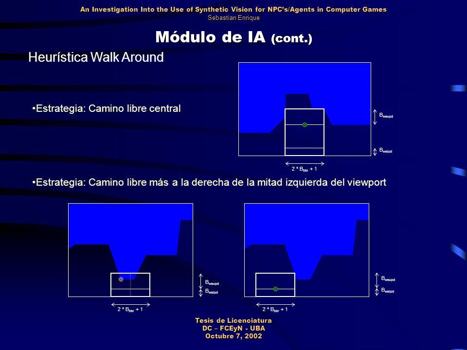 Módulo de IA (cont.) Heurística Walk Around An Investigation Into the Use of Synthetic Vision for NPC's/Agents in Computer Games Sebastian Enrique Tesis de Licenciatura DC – FCEyN - UBA Octubre 7, 2002 B waupd B walpd 2 * B bbr + 1 Estrategia: Camino libre central Estrategia: Camino libre más a la derecha de la mitad izquierda del viewport B waupd B walpd 2 * B bbr + 1 B waupd B walpd 2 * B bbr + 1